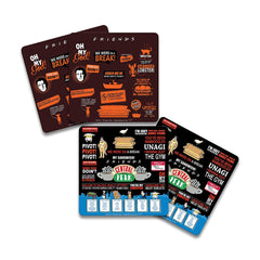 Friends -TV Series Infographic Orange + quotes Wooden Coaster -Pack of 4-for [ Tea/Coffee/Mug/Barware/Dining Table Accessories ]