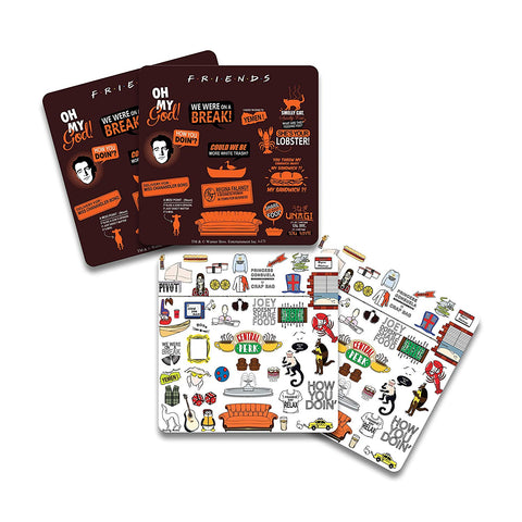 FRIENDS Infographic Orange & Doodle Wooden Coaster - Pack of 4