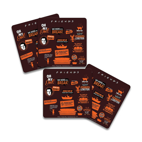 FRIENDS TV Series Infographic Orange Wooden Coaster - Pack of 4