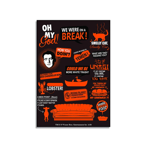 Friends TV Series Orange Infographic Rectangular Fridge Magnet