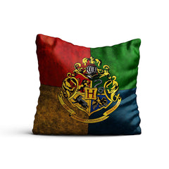 Harry Potter- House Crest 3 Satin Cushion Cover (12x12-inch, Multicolour)