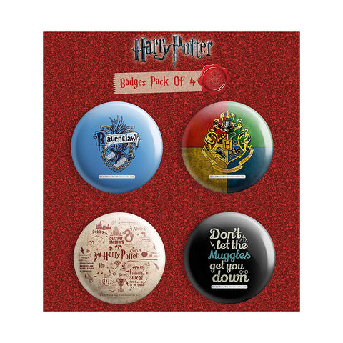 Harry Potter Combo Pack of 4 Round Badges |Birthday Gift