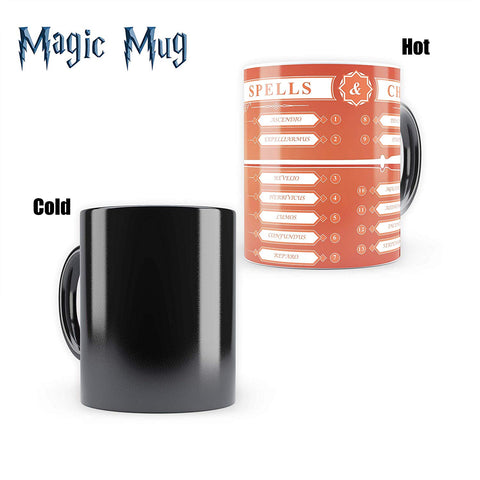 Harry Potter Spells | Morphing Magic Heat Sensitive Mugs | Cool Coffee & Tea, Cup Drinkware Mugs