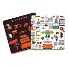 Friends -TV Series Infographic Orange and Doodle  Wooden Coaster -Pack of 2 for [ Tea/Coffee/Mug/Barware/Dining Table Accessories ]