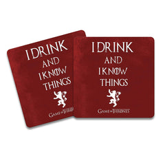 Redwolf Game of Thrones I Drink Wooden Coasters for Tea/Coffee/Mug/Barware/Dining Table Accessories (Multicolour) Pack of 2