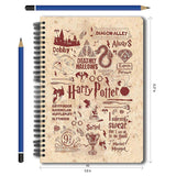 Harry Potter Combo Pack of 2 Infographic Red Notebook and Magnetic Bookmarks