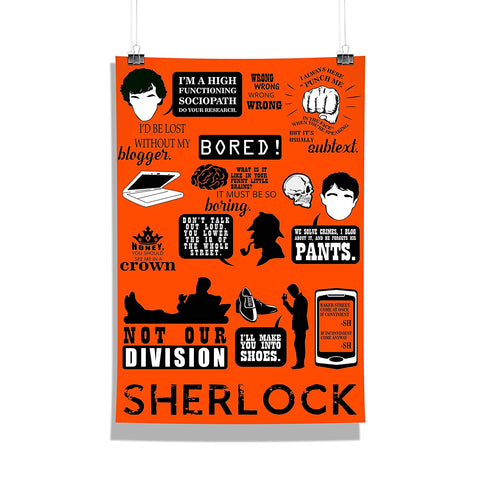 Sherlock- Infographic Poster | Gift Wall Décor Poster | Poster for Home | Poster for Office | Wall Poster for Living Room [ Frame Not Included ] Size A3 [12 x 18 inchs