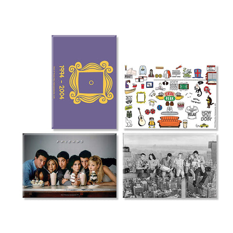 Friends TV Series Pack of 4 (Straw + Doodle + Family+ Door) Rectangular Fridge Magnet