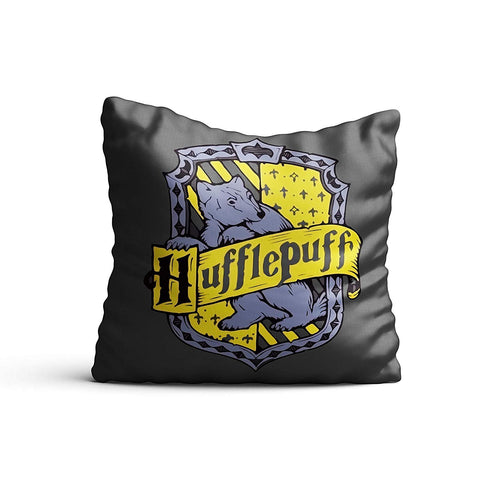 Harry Potter- Hufflepuff  Satin Cushion Cover (12x12-inch, Multicolour)