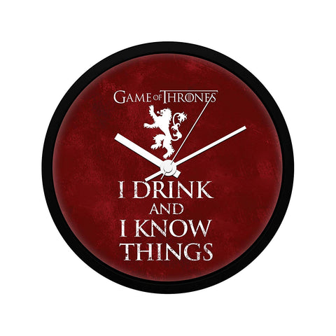 Redwolf Game of Thrones I Drink Wall Clock