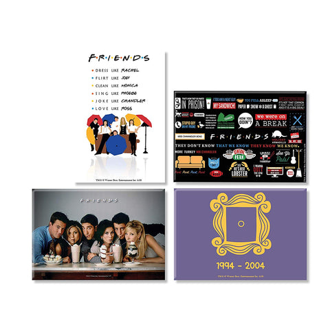 Friends TV Series Combo Pack of 4 Rectangular Fridge Magnet (Straw + Umbrella + Door+ Infographic)