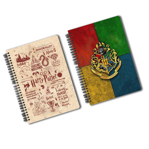 Harry Potter Pack of 2 (House Crest + Infographic Red) A5 Notebook