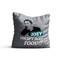Friends TV Series Joey Doesn't Share Food Cushion Covers Decorative Officially Licensed Warner Bros, USA (16x16 Inches, Multicolour)