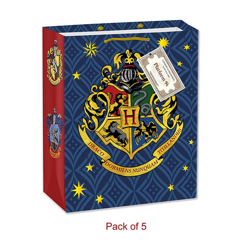 Harry Potter Hogwarts House Crest Gift Bag 5 Pieces - Birthday Decor/Theme Party
