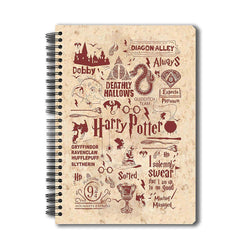 Harry Potter -Infographic-Red A5 Notebook