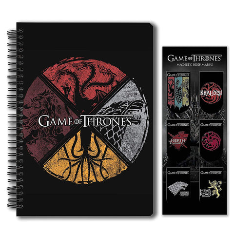 Game of Thrones Combo Pack of 2 Circular House Notebook and Magnetic Bookmarks