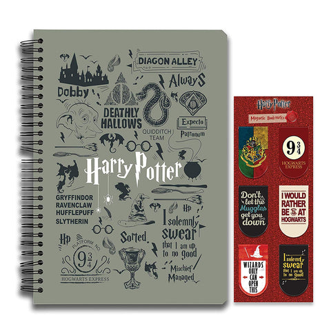 Harry Potter Combo Pack of 2 Infographic Grey Notebook and Magnetic Bookmarks