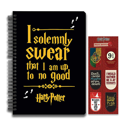Harry Potter Combo Pack of 2 I Solemnly Swear Notebook and Magnetic Bookmarks