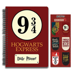 Harry Potter Combo Pack of 2 Hogwarts 9 3/4 Daily Planner Notebook and Magnetic Bookmarks