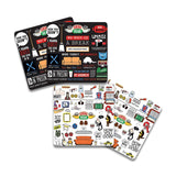 Friends TV Series Doodle and Infographic Wooden Coaster - Pack of 4