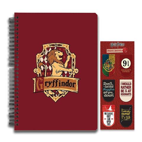 Harry Potter Combo Pack of 2 Gryffindor Notebook and Magnetic Bookmarks