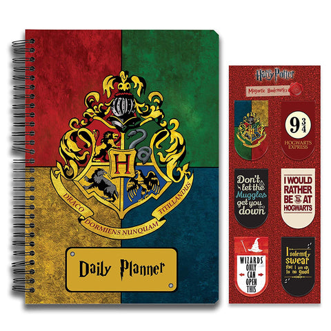 Harry Potter Combo Pack of 2 House Crest Multi Color Daily Planner Notebook and Magnetic Bookmarks