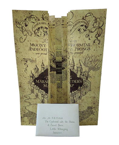 Harry Potter Hogwarts Acceptance Letter and Marauders Map (Brown, Scaled Size)
