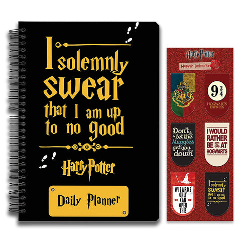 Harry Potter Combo Pack of 2 Solemnly Daily Planner Notebook and Magnetic Bookmarks
