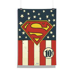 DC Comics-Superman Logo Flag Wall Décor Poster | Poster for Home | Poster for Office |[ Frame Not Included ] Size A3 [12 x 18 inchs ]