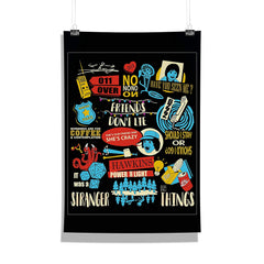 Stranger Things Infographic Poster Multicolored Wall Poster | Wall Decor for Home and Wall Art for Office | Birthday Gifts and Picture Gifts [Size 12 x 18]