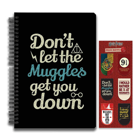 Harry Potter Combo Pack of 2 Muggles Notebook and Magnetic Bookmarks