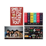 FRIENDS TV Series Pack of 4 (Straw + Character + Smelly Cat+ Infographic) Rectangular Fridge Magnet