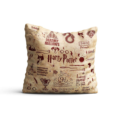 Harry Potter Infographic Red Satin Cushion Cover