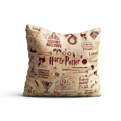 Harry Potter- Infographic Red Satin Cushion Cover (16x16-inch, Multicolour)