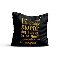 Harry Potter- I Solemnly Swear Satin Cushion Cover (12x12-inch, Multicolour)