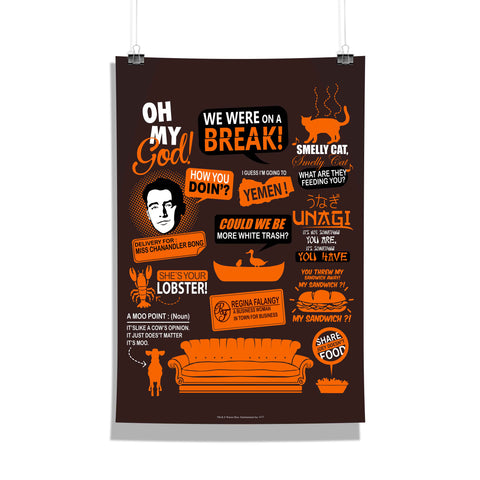Friends Poster Infographic Orange Poster 12x18