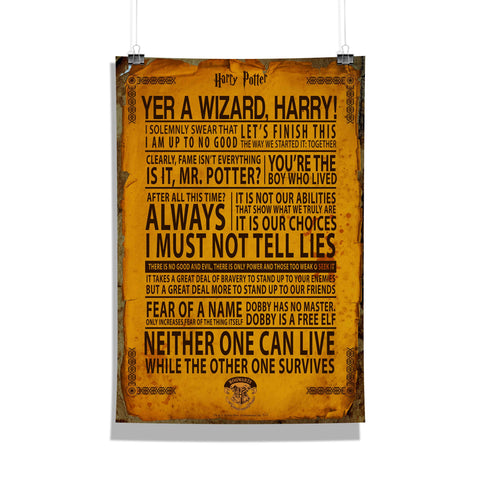 Harry Potter Poster Of Quotes 12x18 Poster For Poster Lover