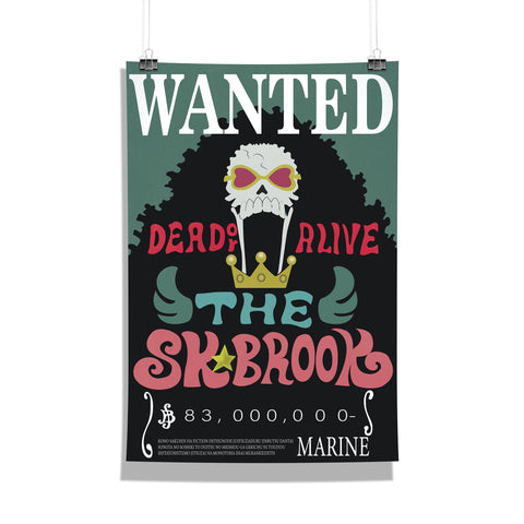 One Piece Brook Wanted Bounty Poster
