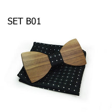 Wooden Bowtie Sets with Hankies