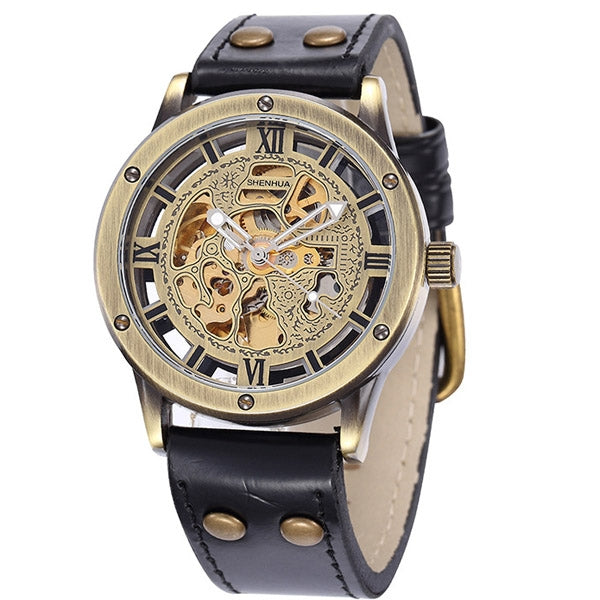 Vintage Bronze Skeleton Watch with Leather Strap