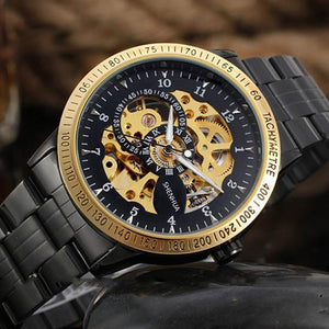 Vintage Black and Gold Skeleton Watch with Stainless Steel Band