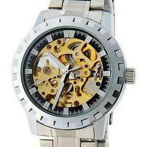 Hollow Mechanical Skeleton Watch with Stainless Steel Band