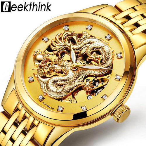 Dragon Antique Design Automatic Skeleton Watch with Vintage Gold Stainless Steel Band