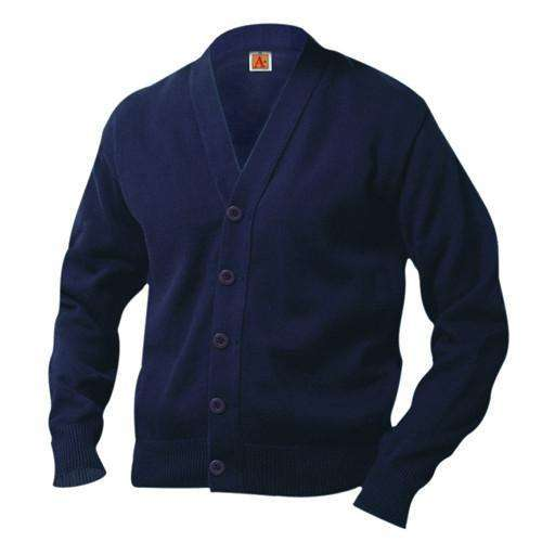 A+ - uniforms  uniforms online 100% Cotton V-Neck Cardigan Sweater Navy Blue - SchoolUniforms.com