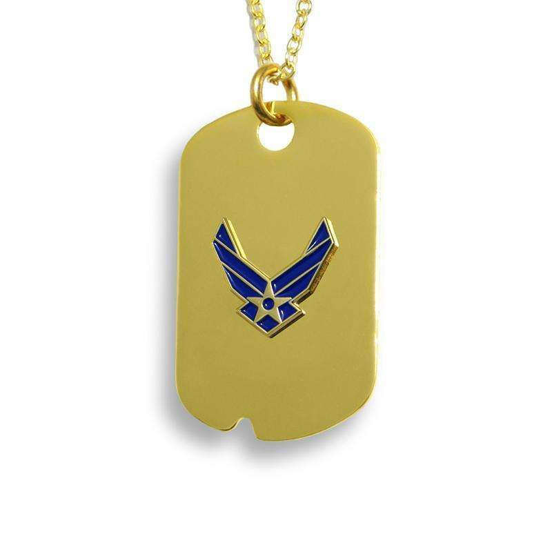 "frankbeeinc - uniforms  uniforms online Air Force 1.25"" X .75"" Dog Tags 18k Gold Electroplated - SchoolUniforms.com"