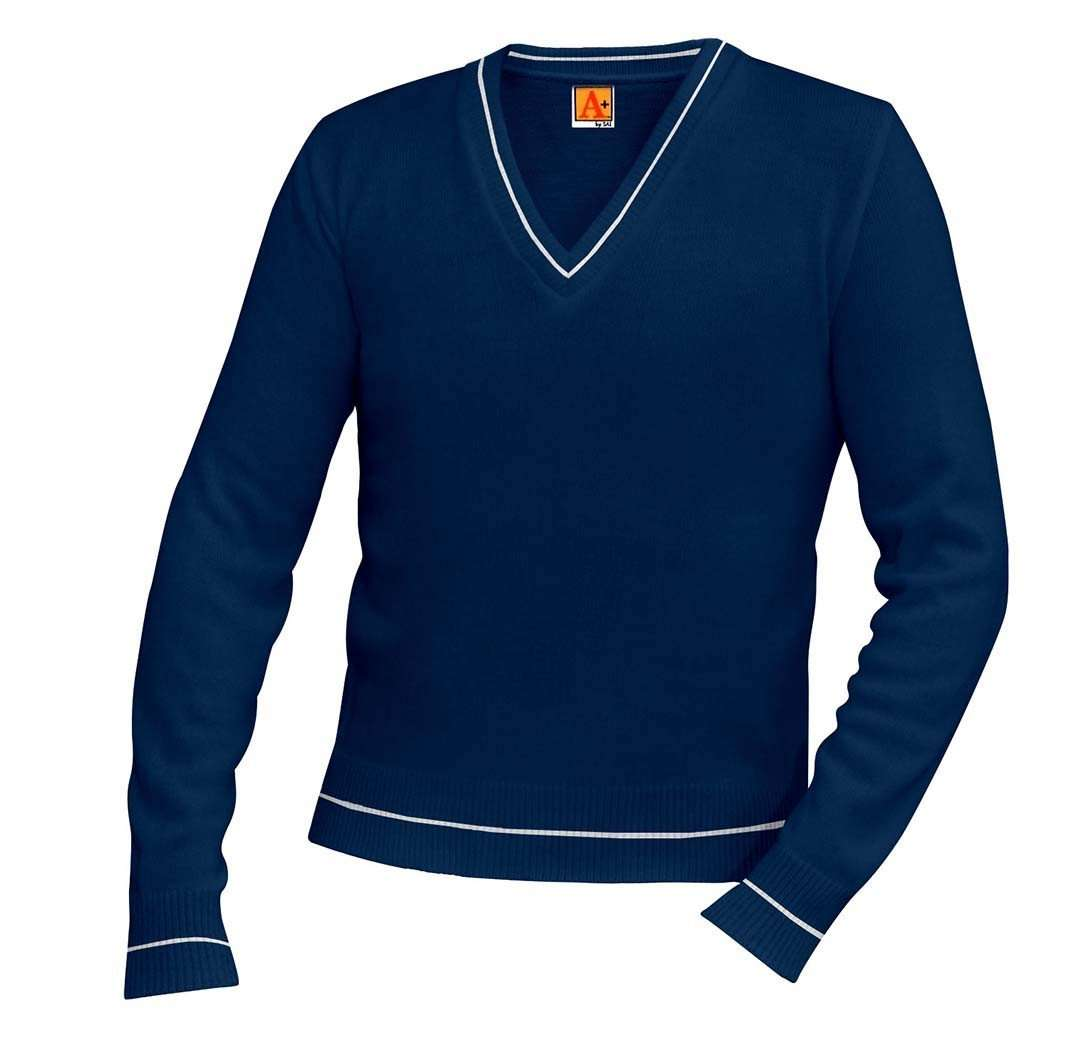 best cheap c951e e78cb Cotton V-Neck Pullover Varsity Sweater Navy Blue With White Trim