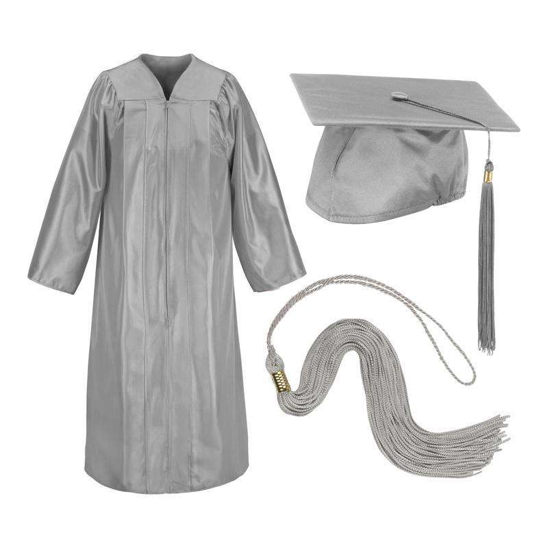 Silver Gray Cap Gown And Tassel Shiny Finish - SchoolUniforms.com