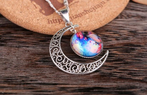 Galaxy Silver Chain Moon Necklace