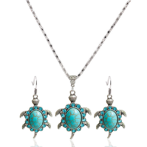 Vintage Turtle Necklace and Earrings Set