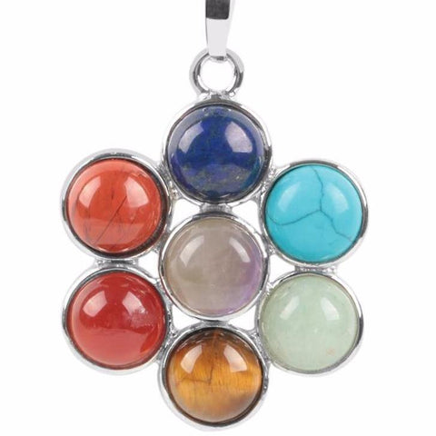 Chakra Natural Stones Flower of Life Pendant